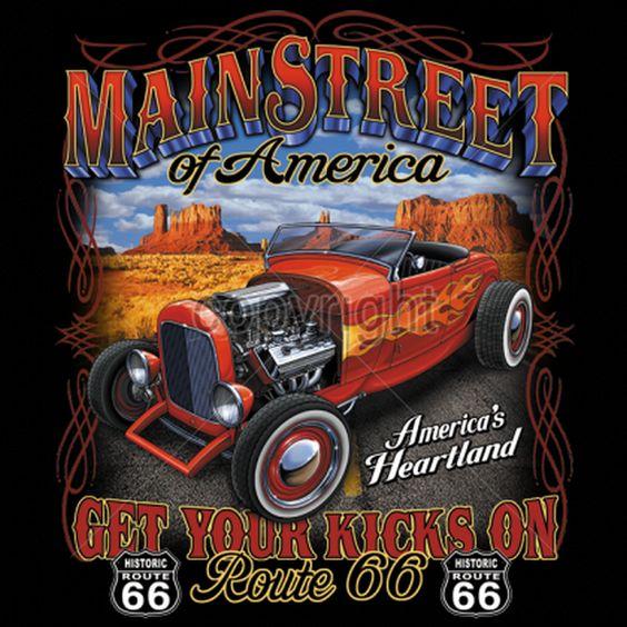 Main Street Hot Rod ADULT T Shirt 15202