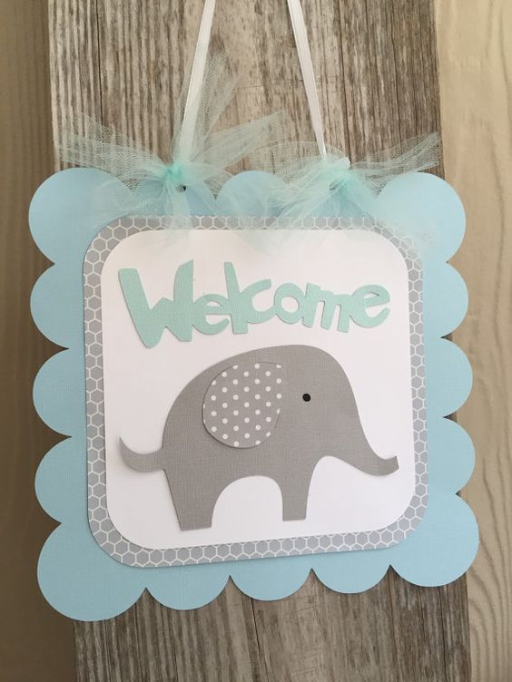 Elephant Baby Shower Sign Welcome Sign Blue by PrettyBoutiqueParty