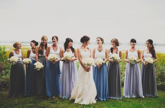 love these color-blocked bridesmaid dresses  | Tim Will