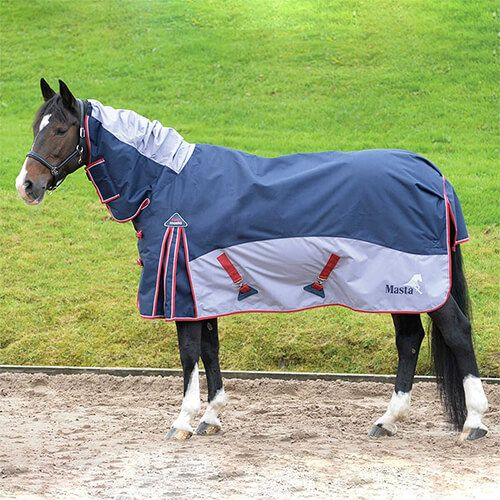 Navy Grey Fixed Neck Turnout Rug Rugs