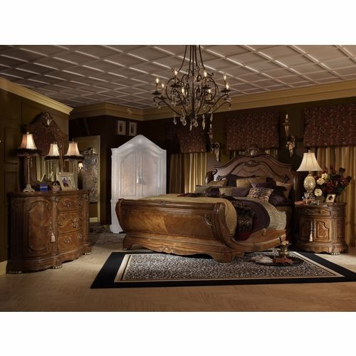 Aico By Michael Amini Cortina Cal King Sleigh Bedroom Set W Chest 6 Pc In Honey Walnut Luxury Bedroom Sets Luxury Bedroom Furniture Luxurious Bedrooms