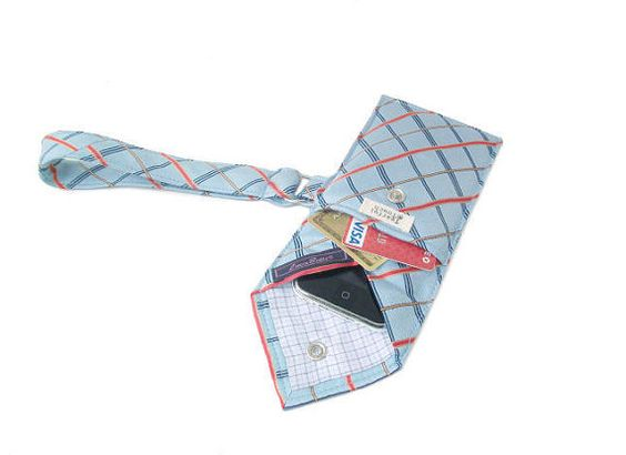 Powder Blue Recycled Necktie Cell Phone Wristlet by TearfulTouch, $20.00