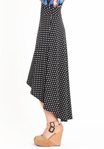 $35 polka dot high-low skirt