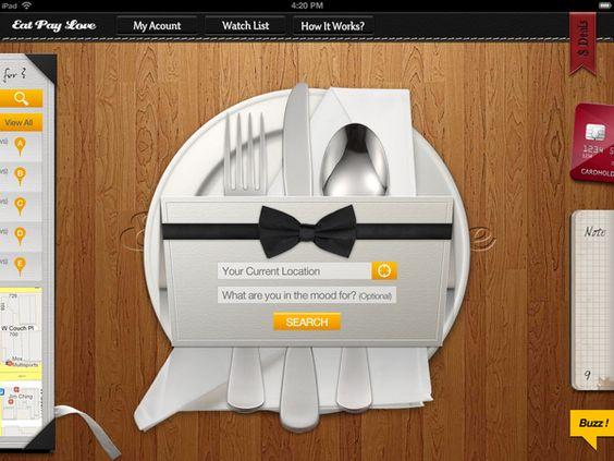 """EatPayLove"" iPad version UI design by Jade Choi, via Behance"