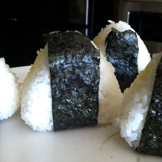 Homemade Japanese Onigiri's (Rice Balls) stuffed with Tofu salad
