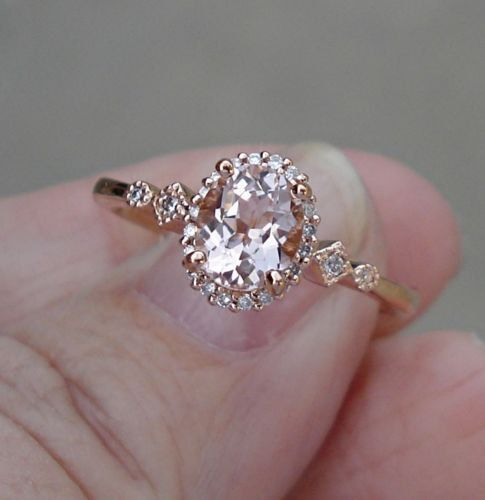 SOLD 1 ct Morganite Solitaire and Diamond Ring 14K Rose Gold Ring 1 Carat Mo