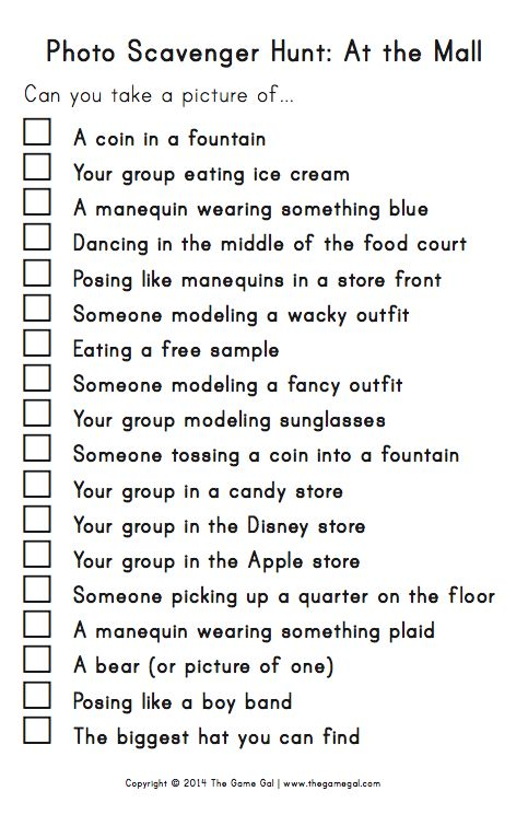 This Is A Scavenger Hunt List I Made For The Mall Might Use It Birthday Party Group Of Girls If Smaller Say 5