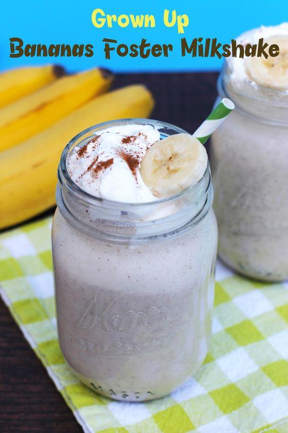 YUM! This Grown Up Bananas Foster Milkshake is the perfect summer ...