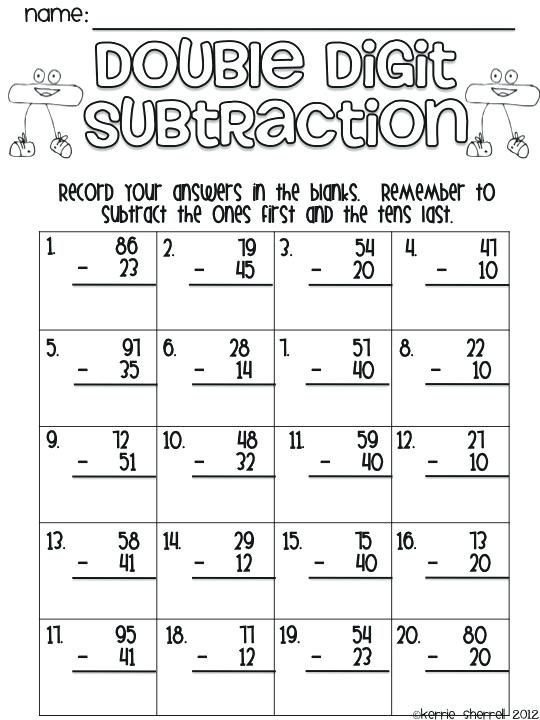 Double Digit Addition And Subtraction With Regrouping Two Digit Addition  And Subtraction Withou… Math Fact Worksheets, Math Subtraction, 2nd Grade  Math Worksheets