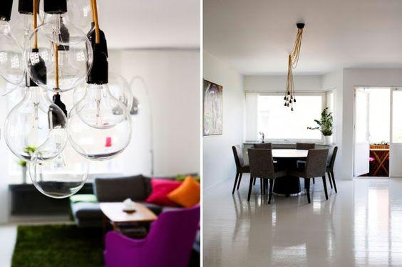 több ágú minimál lámpa színes textilkábellel