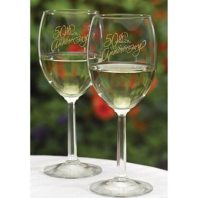 50th Anniversary Wine Glasses http://partyblock.carlsoncraft.com/ZB-ZBK22719-50th-Anniversary-Wine-Glasses.pro#imageSelect=105691