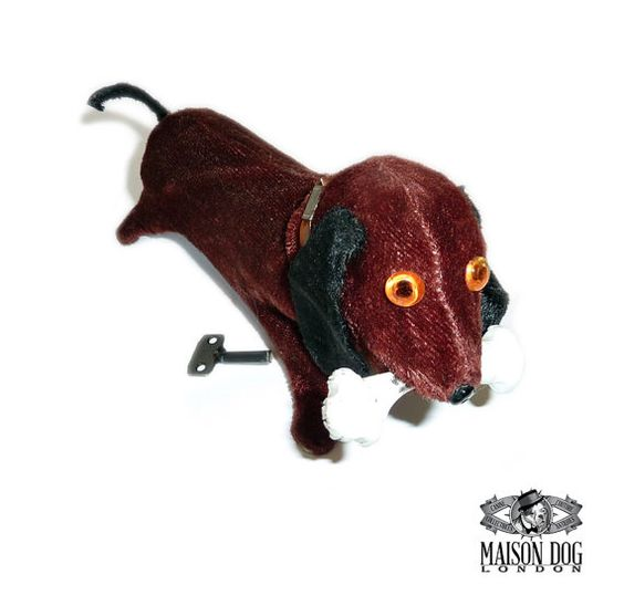 Cute Dachshund Clockwork Plush Toy In Original by MaisonDogLondon