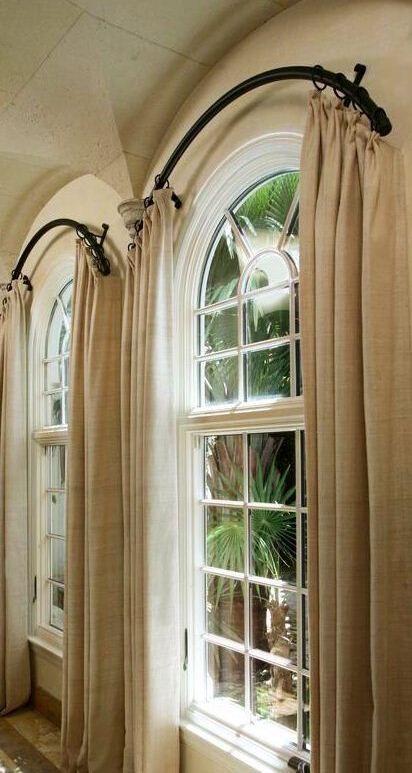 curtain window curtain rod curved