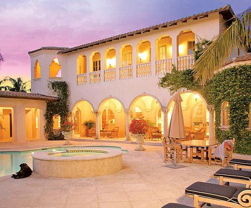 Spanish posts and cas on pinterest for Hacienda style homes