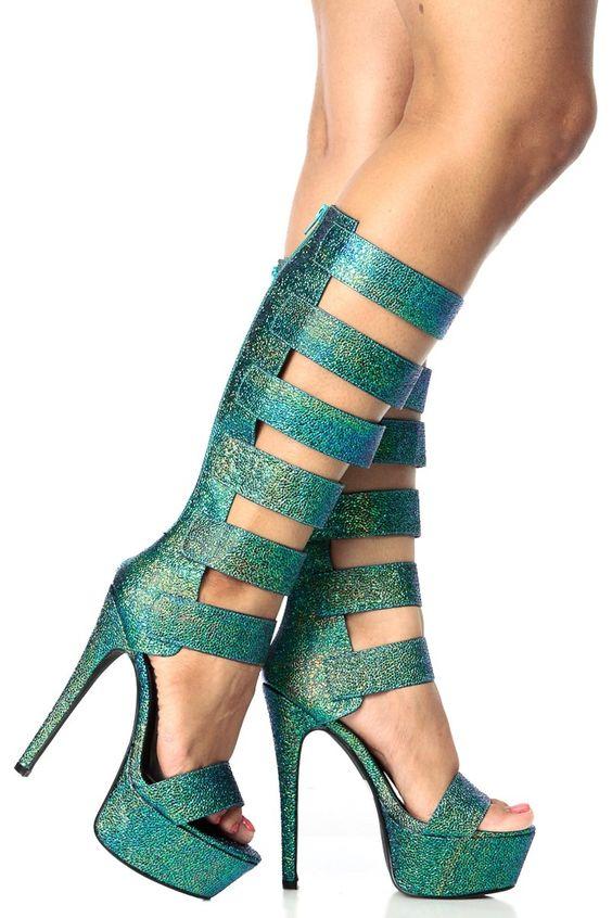 Blue Hues Faux Reptile Skin Knee High Gladiator Platform Heels