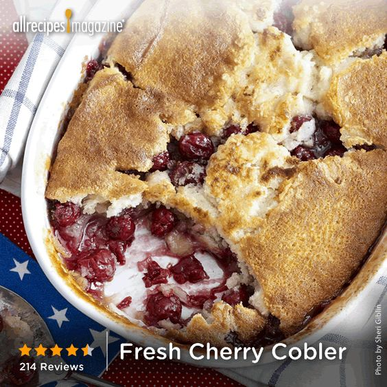 """Fresh Cherry Cobbler 