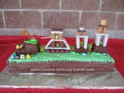Homemade Angry Birds Birthday Cake: I love this website. I have used it to help me make several birthday cakes for my kids. I have built a train, airplane, and fire engine, but this year