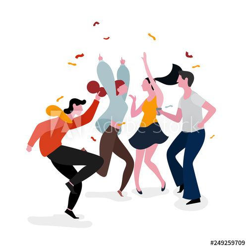 Dancing Party Group Illustration In 2021 Group Illustration Illustration Design Illustration Character Design
