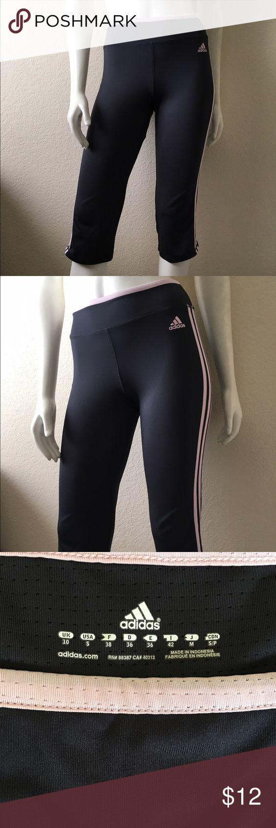 Adidas Capri Pants Adidas Capri Pants come in a dark gray with pink stripes. Size: S. In excellent condition. Adidas Pants Capris