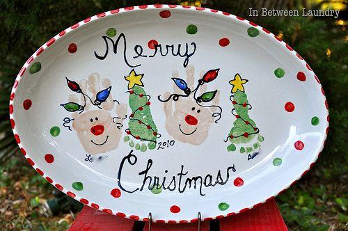 Handprint & Footprint Christmas platter