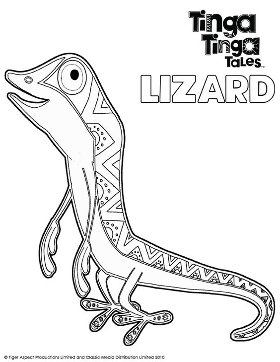 Tinga tinga tales black and white picture of lizard for Tinga tinga coloring pages