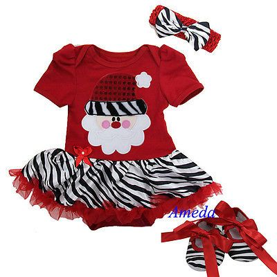 Baby Red Zebra Pettiskirt Bodysuit Tutu Romper Xmas Bling Santa Party Dress 0-18