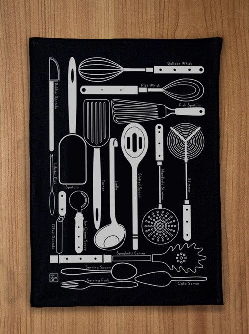 Oversized Kitchen Utensils Tea Towel