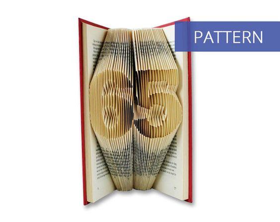 Folded Book Art Pattern - Number 65 - 101 Folds - Including manual - Bookfolding Pattern - Folded Book Pattern - Book Folding pattern