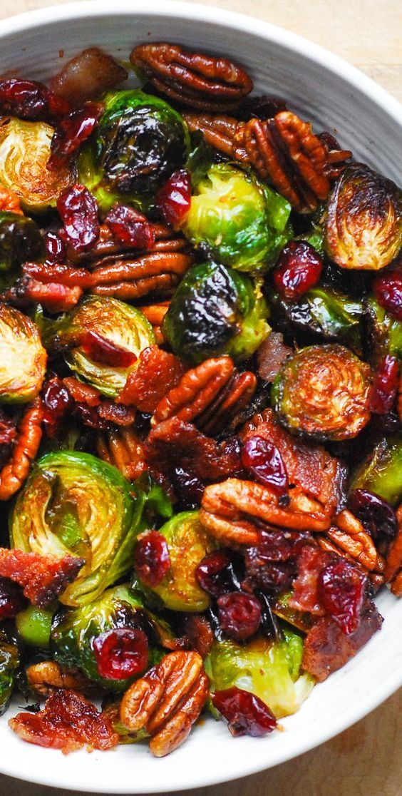 Roasted Brussels Sprouts with Bacon, Toasted Pecans, and