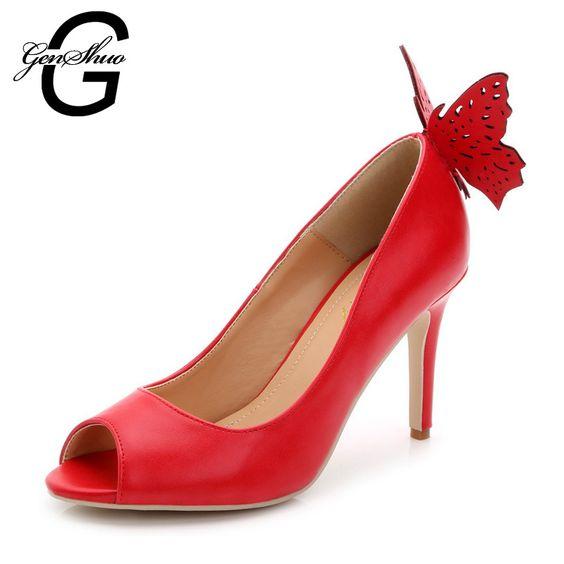 Tamanho grande 34 - 43 nova 2016 moda salto alto mulheres bombas verão outono gravata borboleta mulheres sapatos preto vermelho alishoppbrasil