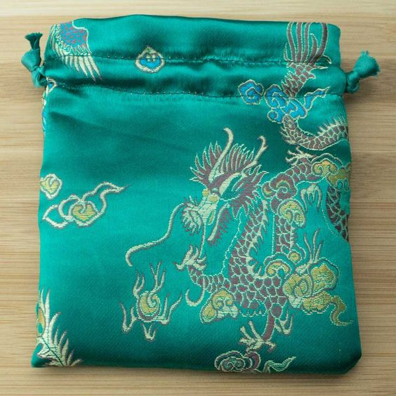 Premium Mala Bag - Green Dragons & Peacocks Brocade