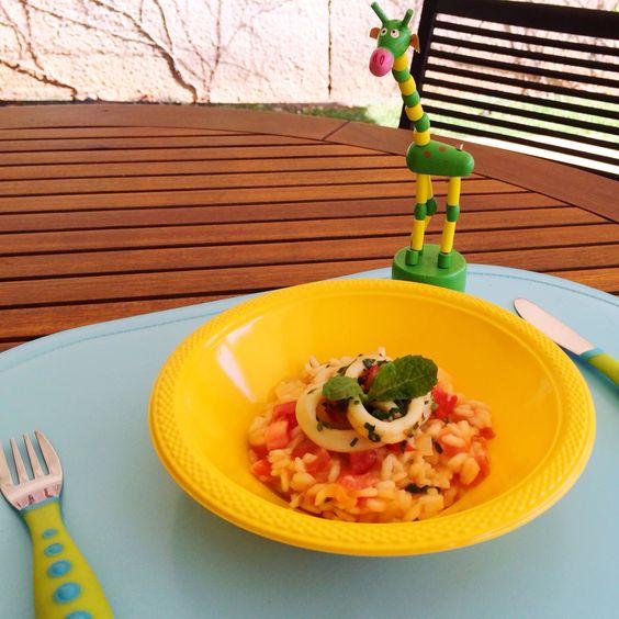 Risotinho de tomate e hortelã com lula a provençal!!! Até a girafa ficou com água na boca!