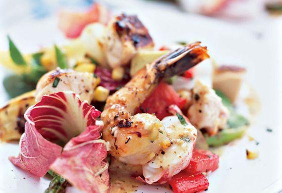 Grilled Vegetable Salad with Chicken, Shrimp and Lobster
