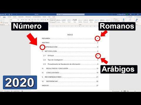 Cómo Hacer Un índice Automático Para Tesis En Word Numeración En Romanos Y Arábigos Apa Iso Youtube Tesis Numeracion Computacion