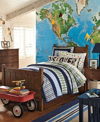 World Map Mural Boys And Pottery Barn On Pinterest