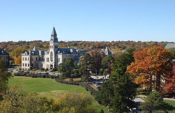 Kansas State University in Manhattan. I've never seen a town embrace their school colors more than Manhattan.