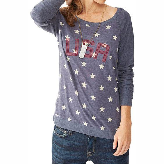 America Shirt. Stars Pattern Raglan Pullover with USA Design. USA Shirt.