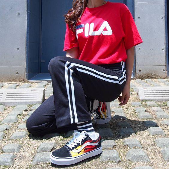 OG Fila Logo Shirt x VANS Old Skool Flames