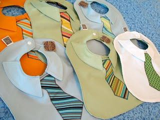 It's like a bib for Barney Stinson's kid. Suit up!  But where is the duck bib? @Mary Ann Durkalski  incase you one day have a boy