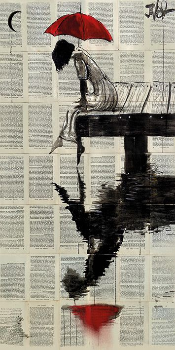Loui Jover (Serene Days) girl with red umbrella print, perfect for urban contemporary living. Head to artgroup.com to view all canvas and art prints in Loui's open edition wall art collection brought to you by The Art Group
