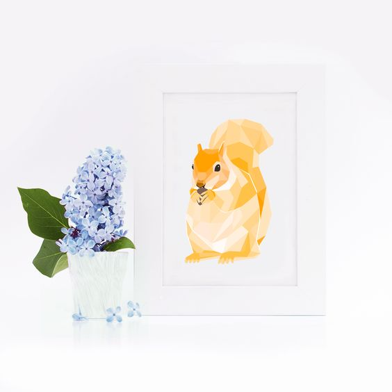 Postkarte / Mosaik / Eichhörnchen By : Eulenschnitt