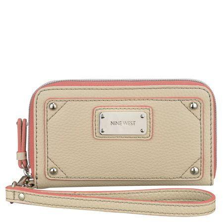 """Table Treasures zip tech wristlet. Two inside pockets. Two slip pockets. Room for five charge cards, business cards, etc. Pocket for a smartphone up to 5""""H x 2 1/2""""W x 1/2""""D. Man-made. Imported. 7 1/2"""" removable wrist strap. 6 1/2""""L x 3 3/4""""H x 1""""D."""