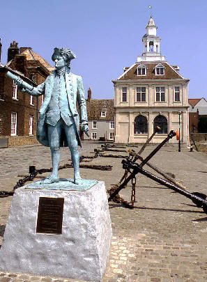 Kings Lynn in Norfolk, England with the statue of George Vancouver