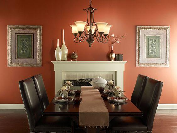 Un toque de elegancia para tu comedor con un tono naranja for Color tostado pared