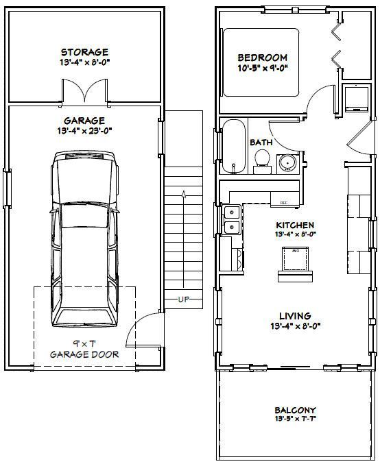 14 X 32 House 546 Sq Ft 1 Bedroom 1 Bath Home 1 Car Garage And 119 Sq Ft Storage On The First L Tiny House Floor Plans House Plans Garage Apartment Plans