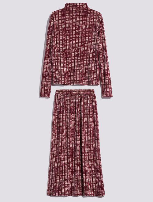 3d Samttop Und Rock Altrosa Muster Max Co Samt Top Modestil Kleid Mit Fledermausarmel