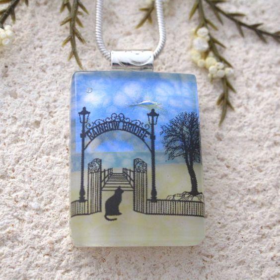 Petite Rainbow Bridge Necklace Memorial Pet Necklace by ccvalenzo