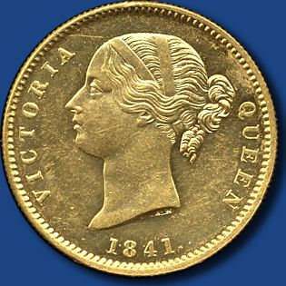 "INDIEN-BRITISCH - EAST INDIA COMPANY, 1 Mohur Victoria, ""Divided Legend"" rs. Löwe v. Palme, 1841 Kalkutta"