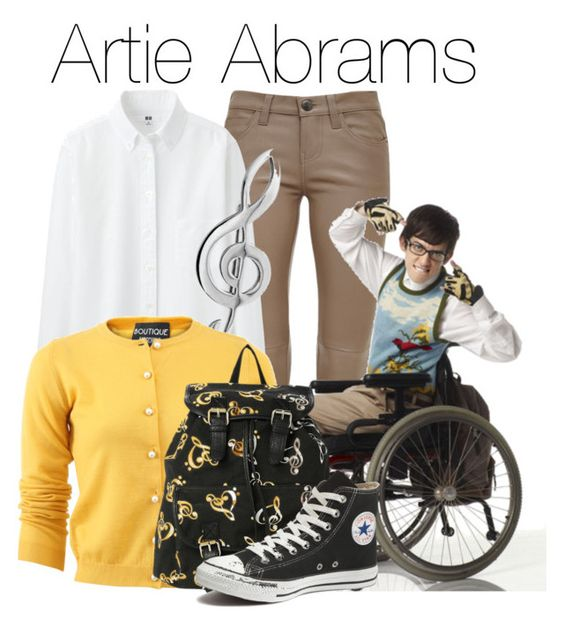 """""""Artie Abrams - Glee"""" by the-wonders-fashion on Polyvore featuring Current/Elliott, Uniqlo, Bling Jewelry, Boutique Moschino, Converse and glee"""
