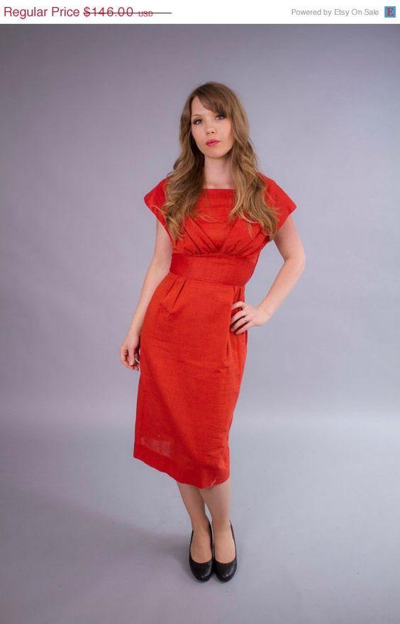 48 Hr Dress Sale 1950s dress . 50s wiggle dress . autumn party dress . persimmon orange on Etsy, $135.07 AUD
